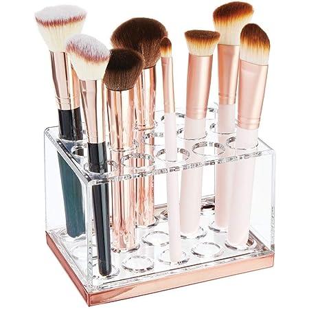 Transparent Boite Maquillage Pratique en Plastique avec poign/ées Boite en Plastique Haute pour Un Rangement organis/é des Produits de Maquillage mDesign Rangement Maquillage