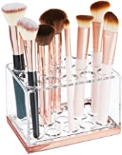 mDesign Plastic Makeup Brush Storage Organizer with 15 Slots for Bathroom Countertop, Vanity to Hold Eye/Lip Pencils, Lip ...