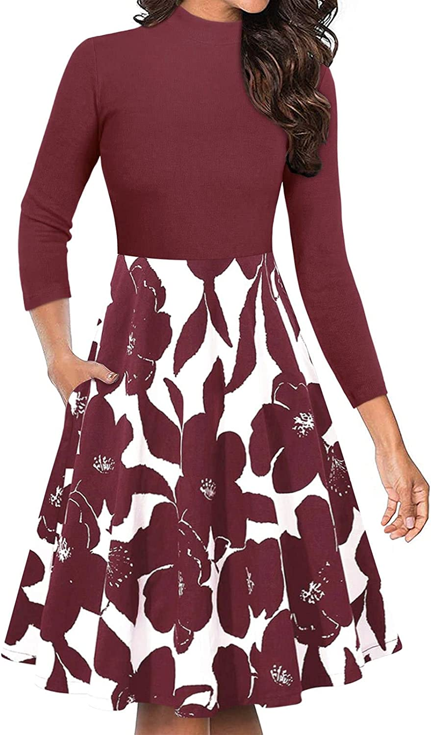 Moyabo Women's Turtleneck 3/4 Sleeve Floral Flared A-Line Swing Casual Party Dresses with Pockets