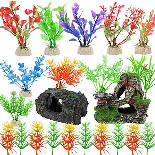 Heyu-Lotus 22 Pack Aquarium Decorations Artificial Fish Tank Plastic Plants with ResinBroken...