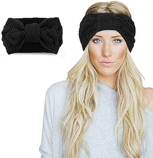 Womens Winter Knitted Headband - Soft Crochet Bow Twist Hair Band Turban Headwrap Hat Cap Ear Warmer