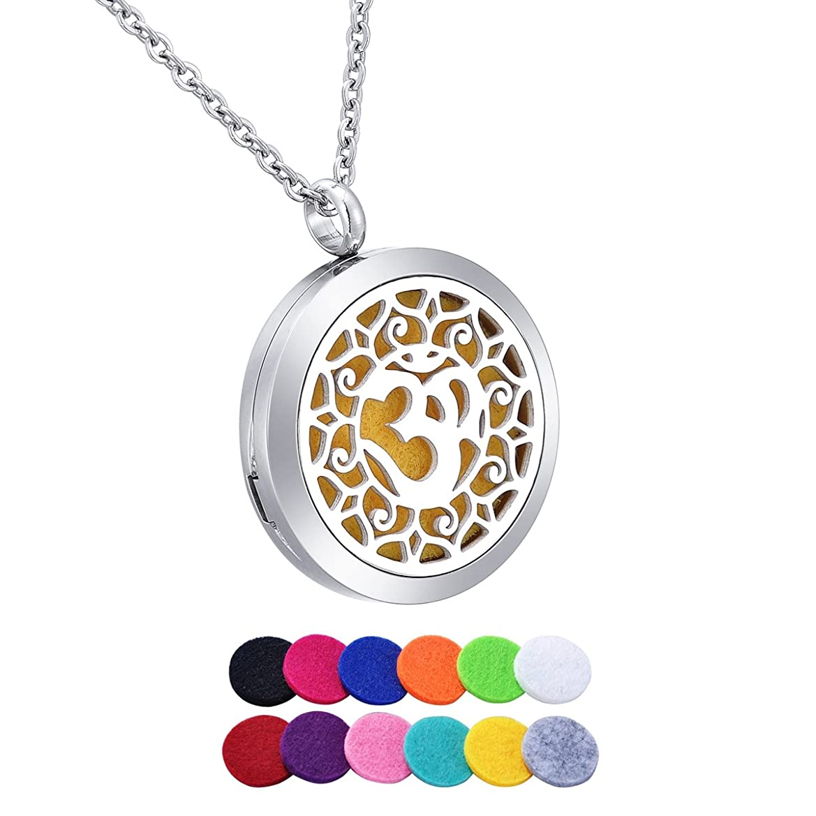 HooAMI Aromatherapy Essential Oil Diffuser Necklace - Yoga Aum Om Ohm Lotus Pendant Locket Jewelry,12 Refill Pads hcdvvmstyh0