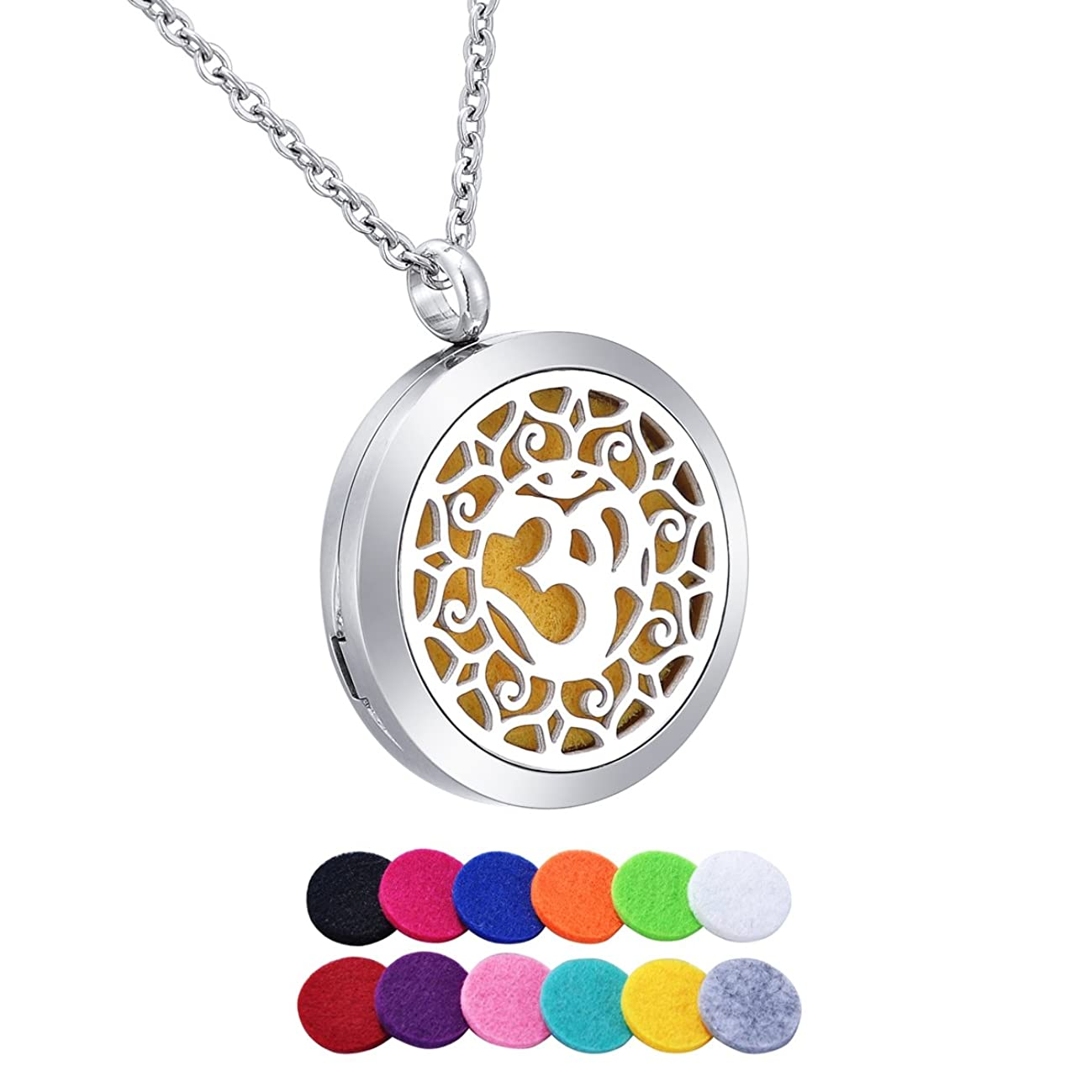 HooAMI Aromatherapy Essential Oil Diffuser Necklace - Yoga Aum Om Ohm Lotus Pendant Locket Jewelry,12 Refill Pads