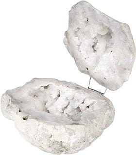 Koyal Wholesale White Crystal Geode Round Ring Box, for Proposal, Engagement, Wedding Ceremony, Ring Bearer, Gift, Keepsak...
