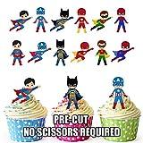 Vorgeschnittene Superhelden Gruppe Party Packung - Essbare Cupcake Topper / Kuchendekorationen (36...