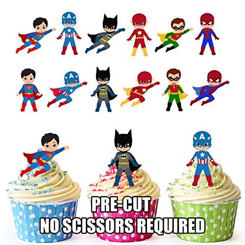 De fiesta PACK - 36 x Super Hero Squad diseño de dibujos de superhéroes Mix comestibles cuadrícula CUP CAKE unidades sobre la mesa figurines