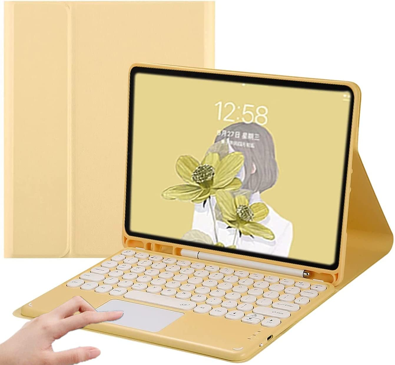 Keyboard Case for iPad Air 4 2020-Touchpad Detachable Keyboard with Pencil Holder -Slim Leather Folio Smart Cover for iPad Air 4 10.9 inch (iPad Air 4 10.9 inch, Yellow)