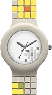 Orologio HIP HOP donna MOSAIC quadrante bianco e cinturino in silicone beige, movimento SOLO TEMPO - 3H QUARZO