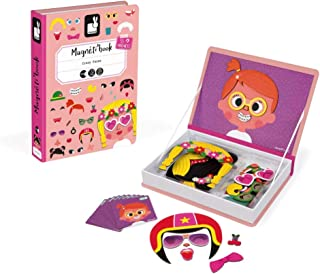 Janod MagnetiBook 66 pc Magnetic Girl Crazy Face Dress Up Game for Imagination Play - Book Shaped Travel/ Storage Case Included- S.T.E.M. Toy Ages 3+