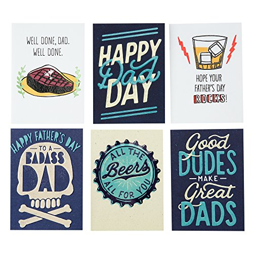 Hallmark Studio Ink Funny Father's Day Card Assortment for Friends, Family, and Dad (6 Cards with Envelopes)