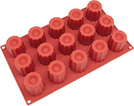Freshware SM-107RD 15-Cavity Small Silicone Mold for Caneles and Bordelais Fluted Cakes