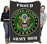 US Army - Proud Mom Military Service Mark Seal - Cotton Woven Blanket Throw - Made in The USA (72x54)