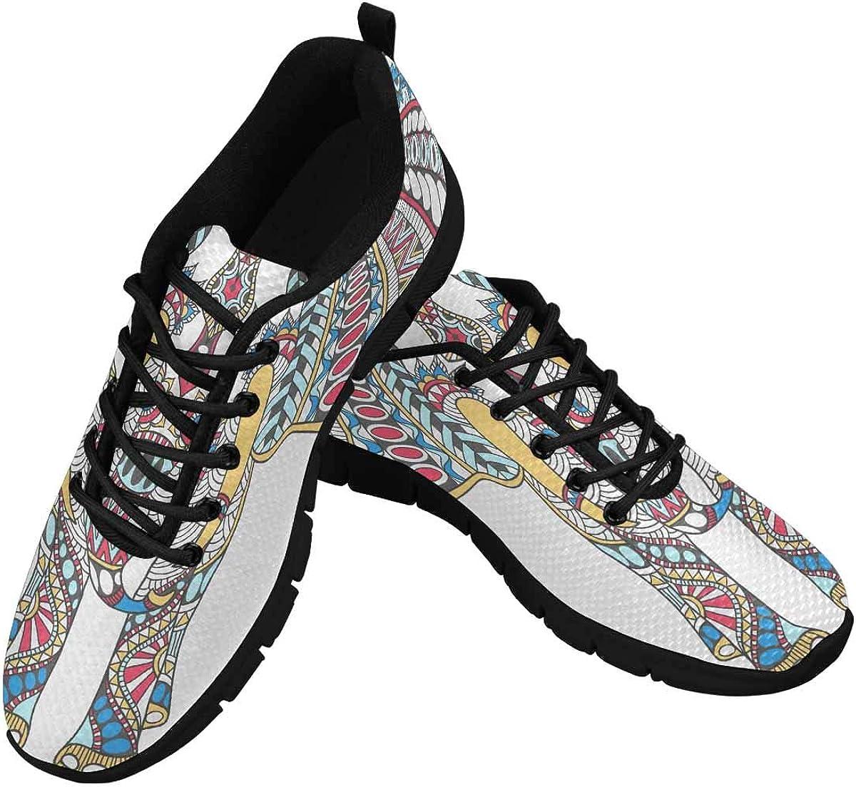 INTERESTPRINT Vector Hand Women's Athletic Walking Shoes Casual Mesh Comfortable Work Sneakers