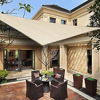 HENG FENG Toldo Vela de Sombra Triangular 4 x 4 x 5.65 m Protección Rayos UV Solar Protección HDPE Transpirable Aislamiento de Calor para Dar Sombra a su JardínColor Beige