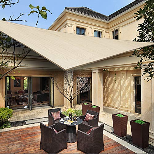 HENG FENG Toldo Vela de Sombra Triangular 3.6 x 3.6 x 3.6 m Protección Rayos UV Solar Protección HDPE Transpirable Aislamiento de Calor para Dar Sombra a su Jardín Color Beige