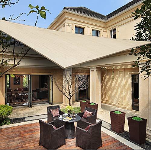HENG FENG Toldo Vela de Sombra Triangular 5 x 5 x 7 m Protección Rayos UV Solar Protección HDPE Transpirable Aislamiento de Calor para Dar Sombra a su Jardín Color Beige