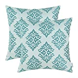 CaliTime Pack of 2 Soft Jacquard Throw Pillow Covers Cases for Couch Sofa Home Decoration Vintage Diamond Shape Damask Floral 18 X 18 Inches Teal