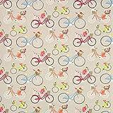 Fabulous Fabrics Cretonne Fahrrad 1 – beige — Meterware