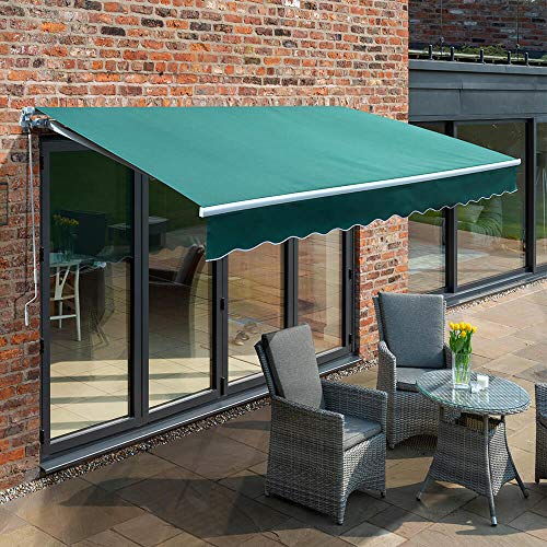 Primrose 2.5m Manual Awning - Plain Green Mayfair DIY Patio Awning Gazebo Canopy (8ft 2') Complete with Fittings and Winder Handle