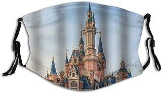 KASMILN Pink Castle Kids Blue Sky Vintage Castle Fabric Half Face Mask Mouth Masks with Earmuffs Anti Dust Anti Haze Windproof Mask