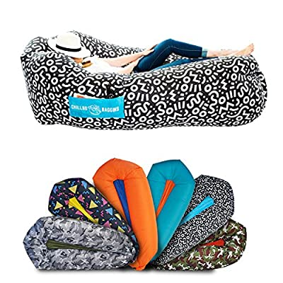 Chillbo Shwaggins Inflatable Couch – Cool Inflatable Chair. Upgrade Your Camping Accessories. Easy Setup is Perfect for Hiking Gear, Beach Chair and Music Festivals. (Black + White Swizzle)