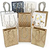Glogex Gift Bags, Kraft Paper Gifts Bag for Birthday, Weddings Presents (Set of 16, 8 Unique...