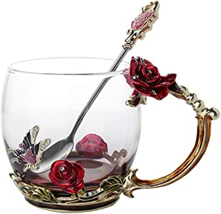 Martinimble Enamel Coffee Tea Cup Mug 3D Rose Butterfly Glass Cups Wedding Gift Coffee Cup, Tea Cup, Water Cup
