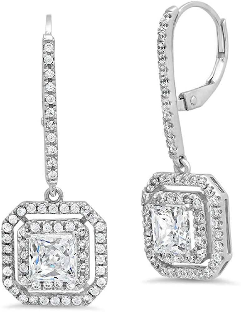 Clara Pucci 3.27CT Princess Brilliant Round Cut Double Halo Solitaire VVS1 Flawless Moissanite Gemstone Pair of Lever back Drop Dangle Earrings Solid 18K White Gold