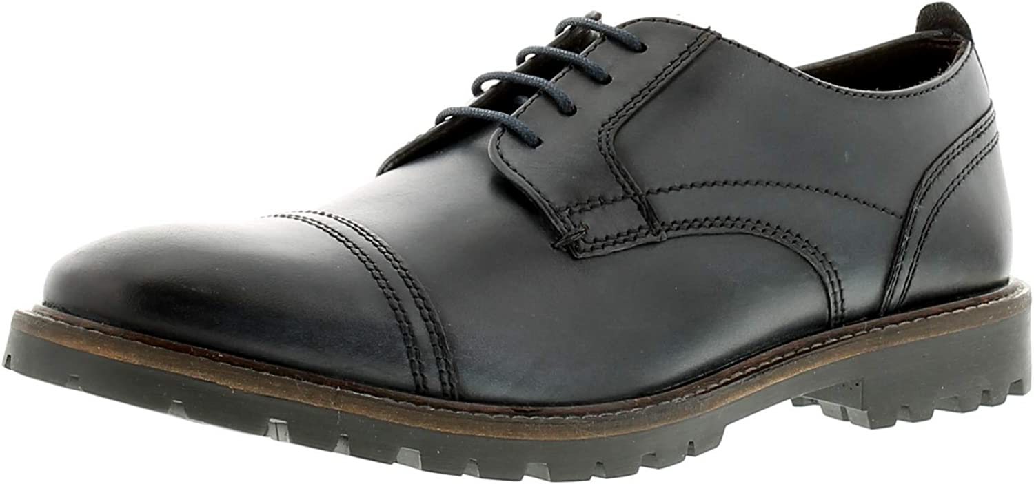 Base London Men Navy Leather 'Pike' Lace Up shoes