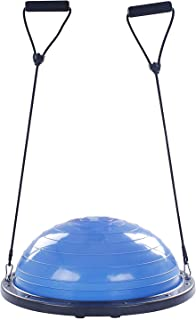 FlowerW - Pelota semiesférica para Entrenamiento de Equilibrio (60 cm, con Correas Laterales y Bomba semiesférica)