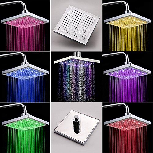 """8\"""" Duschpaneel Regendusche Badamatur Duschset mit LED Lampe RGB Farbig OHNE Akku, automatischer Farbwechsel, Antikalk"""