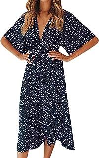 QUINTRA Women Short Sleeve Holiday Deep V Neck Wrap Polka Dot Dresses Summer Sundrss Beach Dress