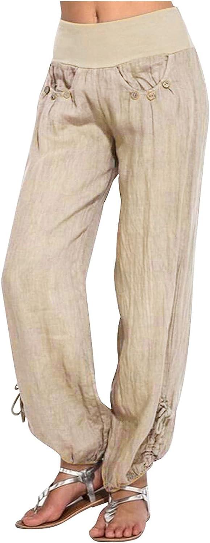 QTOCIO Womens Cotton Linen Harem Hippie Pants Boho Yoga Clothing Smocked Waist Palazzo Beach Pants