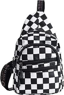 Danse Jupe Unisex Checkered Chest Pack Canvas Shoulder/Sling/Crossbody Bag Travel Daypack