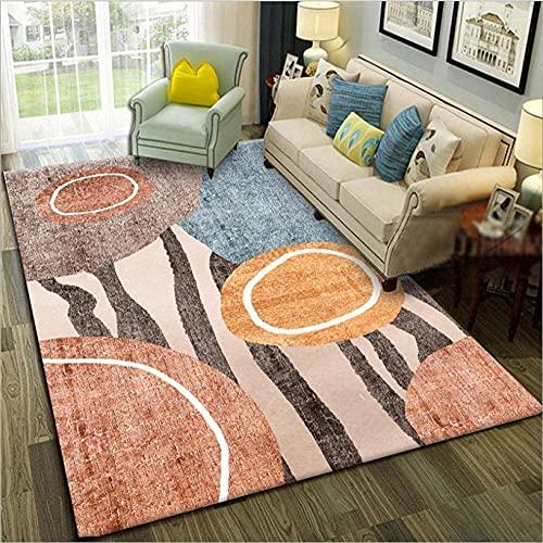 GONGFF Alfombra para sala de estar, alfombra moderna, decoración del hogar, antideslizante, marrón, amarillo, azul, marrón, blanco, abstracto, 80 x 160 cm