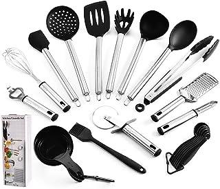 مجموعة ادوات المطبخ - 23 قطعة من اواني الطبخ من النايلون من يو هوم - مستلزمات المطبخ مع ملعقة مسطحة - افضل طقم لادوات المطبخ