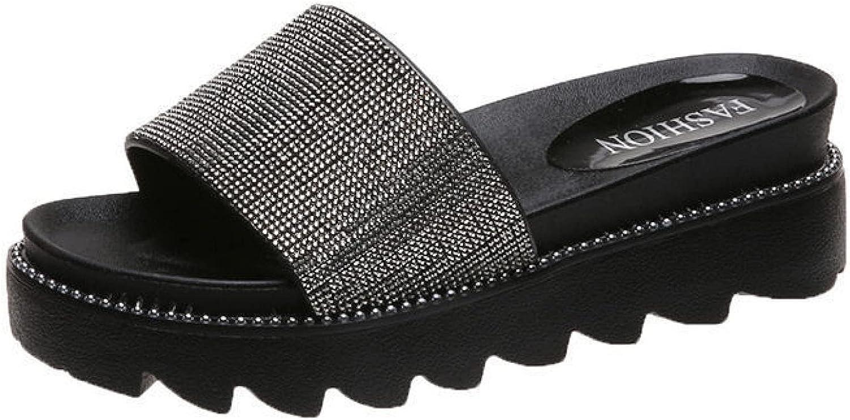Slide Sandals for Women Platform Comfort Fashion Rhinestone Glitter Beach Open Toe Slip on Temperament Slides