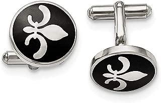 Stainless Steel Black Enamel with Fleur de lis Cufflinks