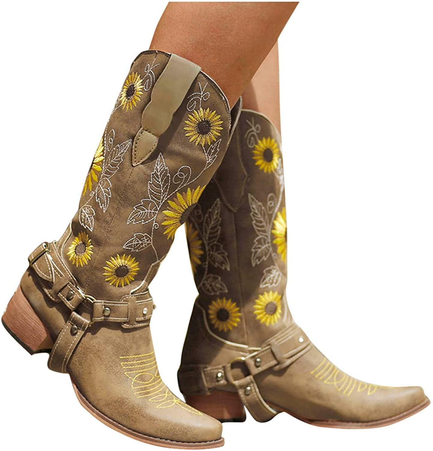 Cowgirl Boots for Women Sales results No. 1 Western Emb Boot Max 51% OFF Sunflowers Cowboy