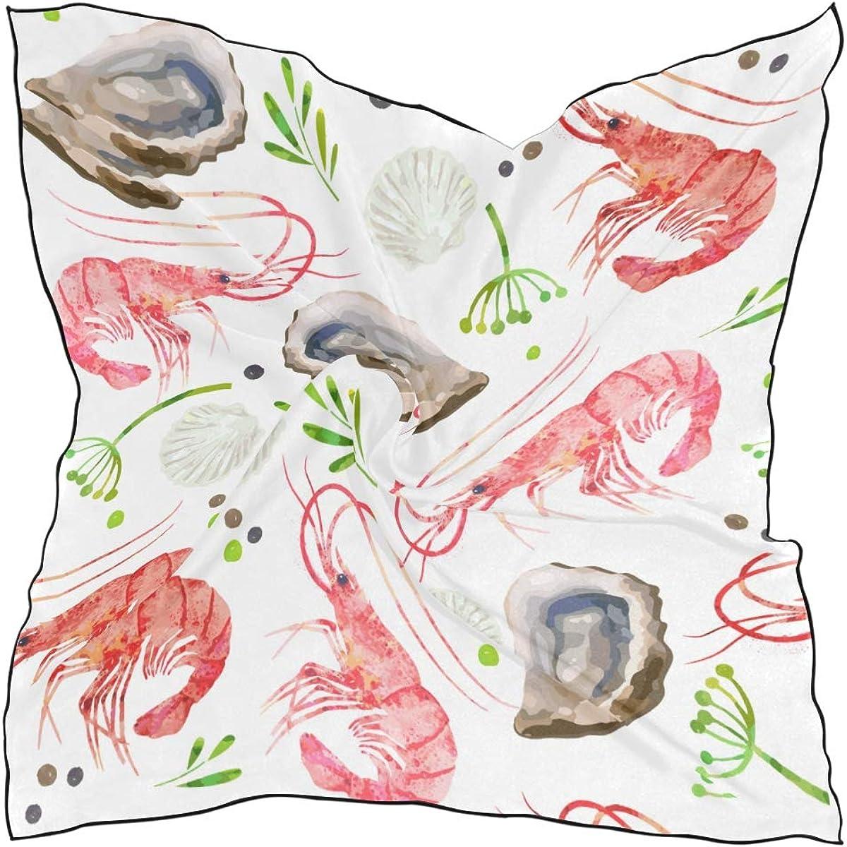 Women's Soft Polyester Silk Square Scarf Shrimp Seafood Food Water Bio Animation Design Fashion Print Head & Hair Scarf Neckerchief Accessory-23.6x23.6 Inch