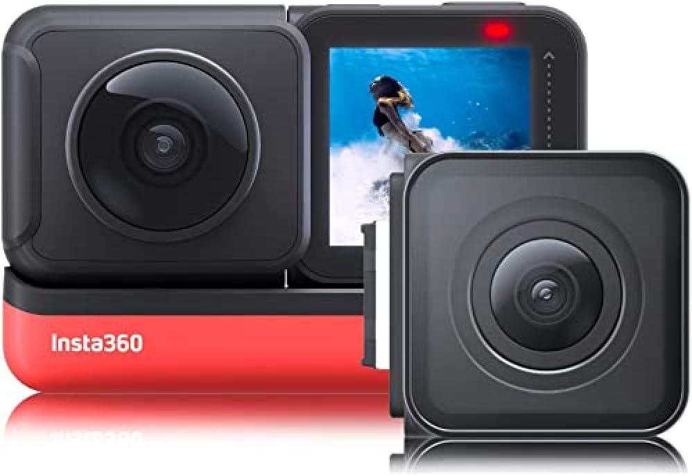 Insta360 ONE R Twin Edition - Cámara deportiva,Color negro y rojo, 4K, USB