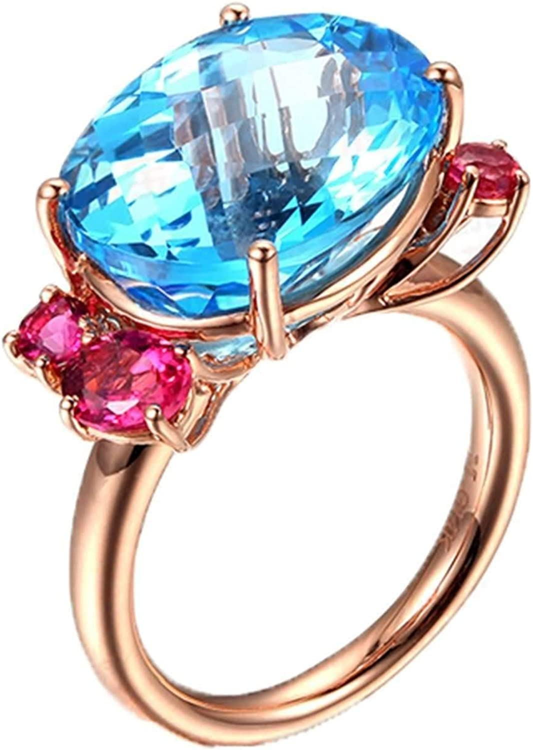 Max 42% OFF Aokarry Promise Rings for Her 18K Lowest price challenge Rose Gold Oval 12.26ct R Topaz