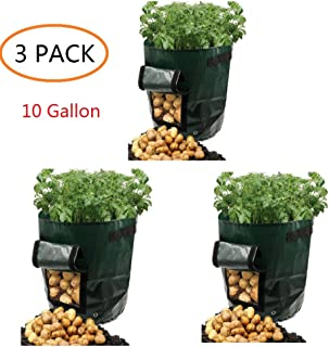 Potato Grow Bags 10 Gallon Garden Vegetables Planter Bags with Handles and Access Flap for Planting Potato Carrot Onion Taro Radish Peanut,3-Pack