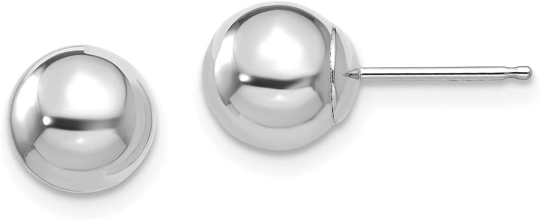 14k Madi K White Gold Polished 7mm Ball Post Earrings