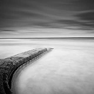 Scarborough Jetty - Fine Art Print on Canvas Wall Art Decor for Home Living Room,Bedroom,Bathroom 36 x 36 Inch Wall Art Painting Canvas Print ONLY -NO Frame