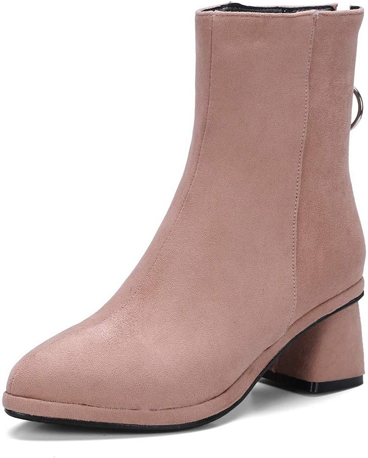 AN Womens Chunky Heels Metal Buckles Imitated Suede Boots DKU02291
