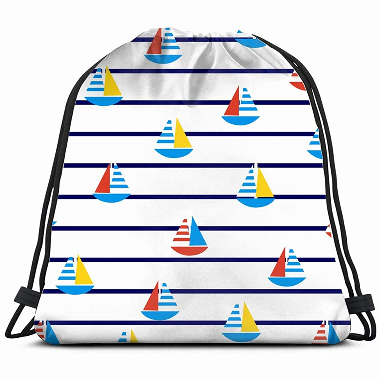 sailboats on marine stripes summer pattern backgrounds textures Drawstring Backpack Gym Spacious Pull String Backpack Multifunctional storage bag 14.2 x 16.9 inch
