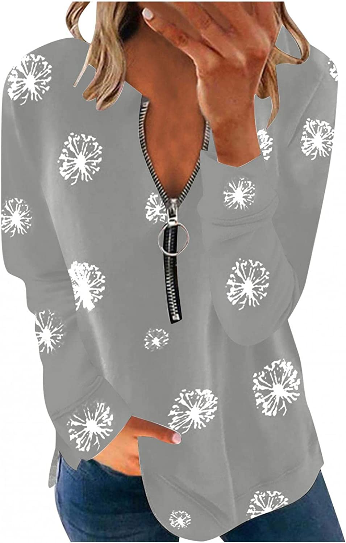 Sweatshirts for Women Zip Up, Aniwood Womens Quarter Zip Pullover Sweatshirt Causal Long Sleeve Printed Loose Shirts Tops