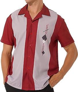 KKmeter Mens Vintage Cuban Style Bowling Shirt Short Sleeve Camp Casual Button-Down Shirt