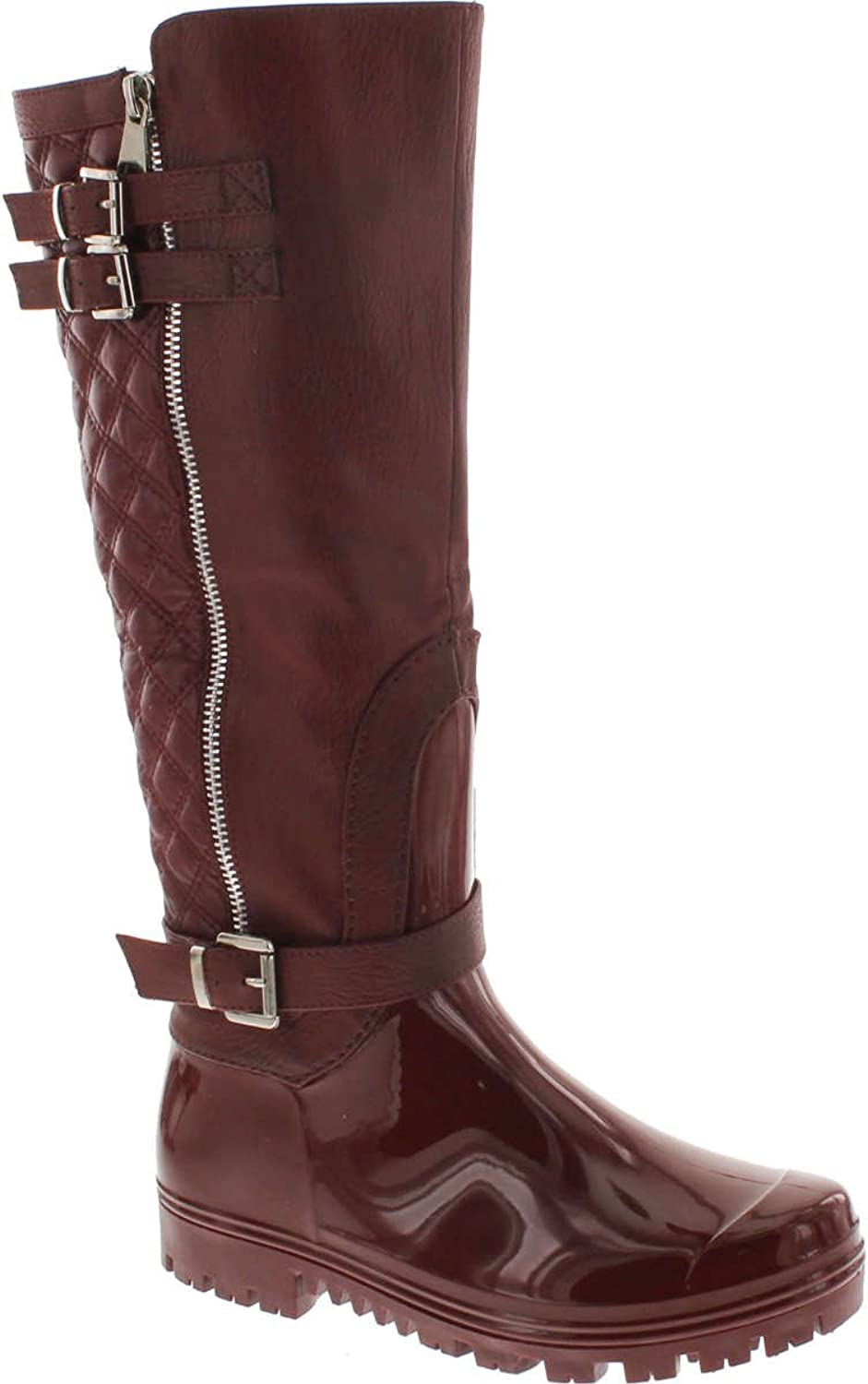 Forever Link Women's Carrie-67 Motorcyle Quilted Buckle Boots,Wine-67,7